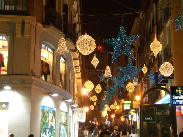 Detalle de la zona centro comercial. Navidad 2004 en Madrid