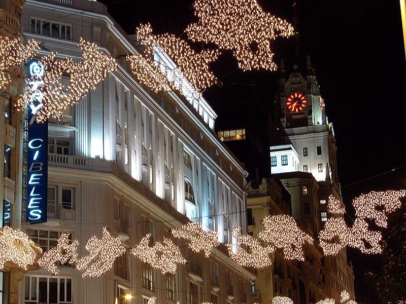 Detalle de Gran Via. Navidad 2006 en Madrid