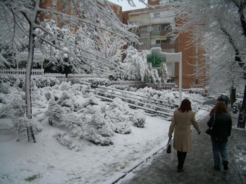 Avenida nevada. Madrid con nieve