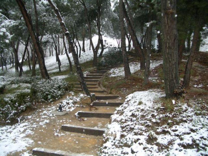Entrada a la ETSIT-UPM. Madrid con nieve