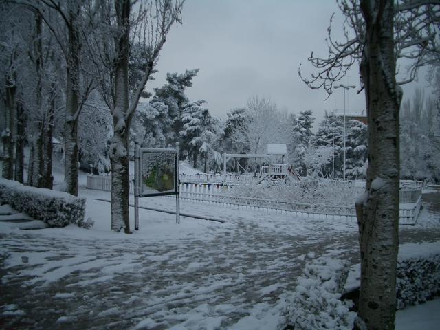 Parque Azorin. Madrid con nieve