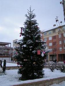 Navidad nevada en Salamanca. España.. Belén de Heliodoro Ordás Gómez