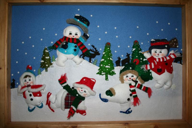 094 muñecos de nieve elaborados en paño lency. Belén de Maritza Bravo