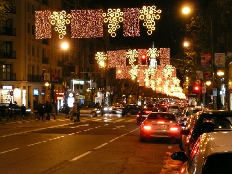 Iluminación en la calle Goya. Navidad 2008 en Madrid