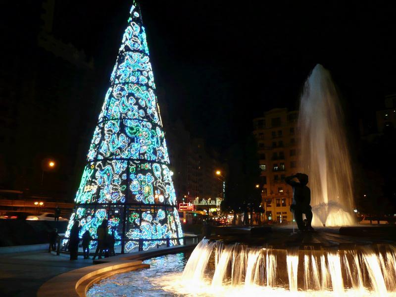 Árbol de Navidad en Plaza de España. Navidad 2009 en Madrid