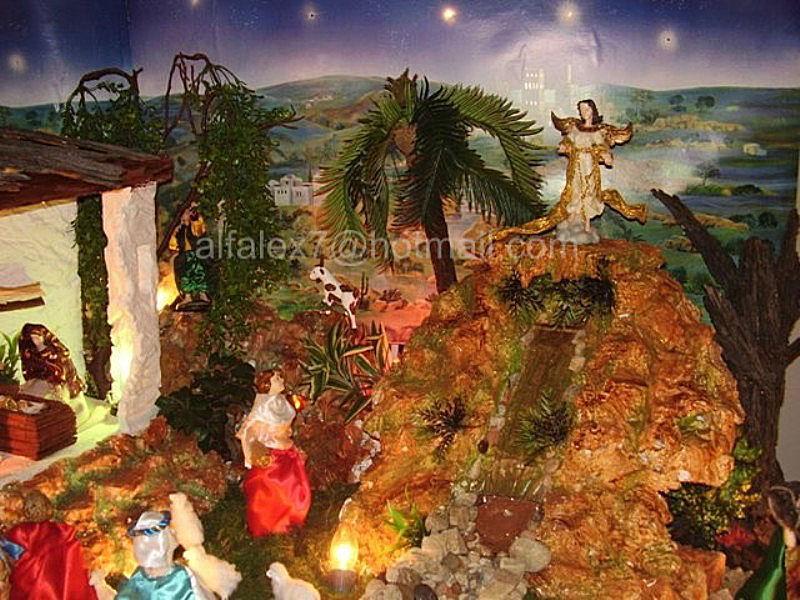 Cascada y angel. Belén de Alfredo Alexander Flores Juliac (Cumaná)
