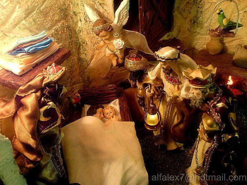 Los Reyes adoran al Niño Jesús. Belén de Alfredo Alexander Flores Juliac (Cumaná)