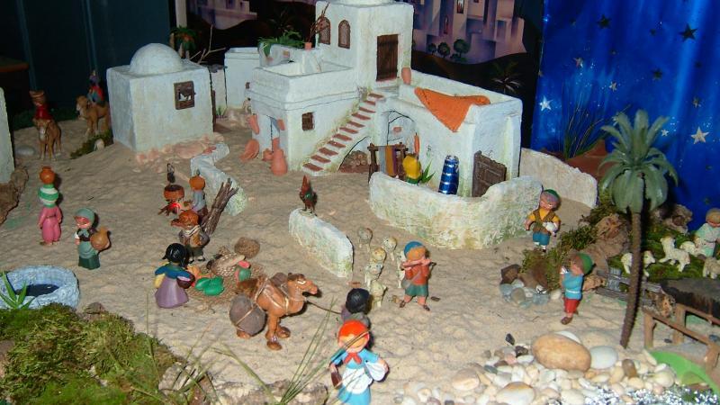 Mercado e casas. Belén de Associação Cultural Fusetense (Fuseta, Algarve)