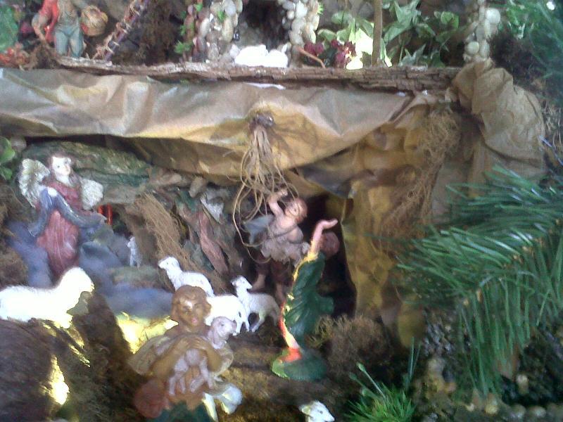 Escena del Angel aparece a los Pastores.. Belén de Cristhian Castrejón (David, Chiriquí, Panamá)