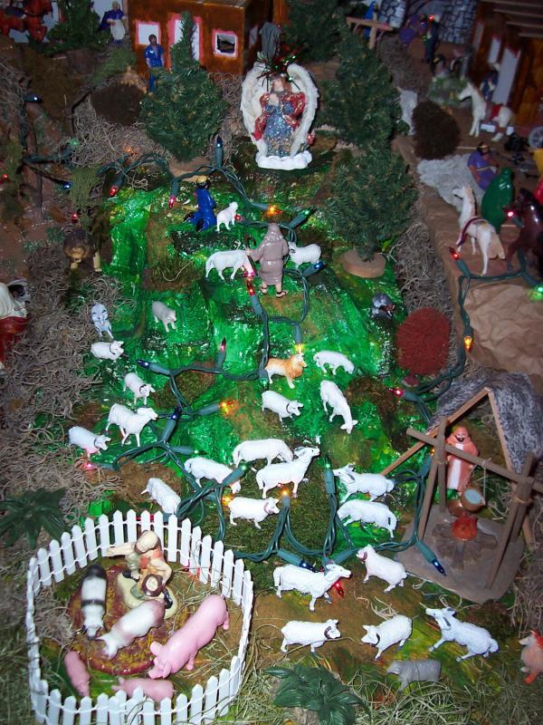 Angel y pastores. Belén de Ignacio Palacios (Kilgore, Texas)