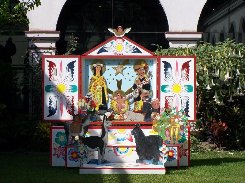 Belén en un retablo. Belén de Luis Enrique Castillo (Lima)