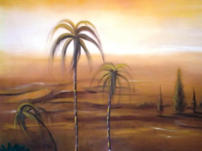 Palmeras al atardecer del lienzo pintado por Nury Edith Cruz Solarte. Belén de Solarte Mauricio (El Tambo Cauca)