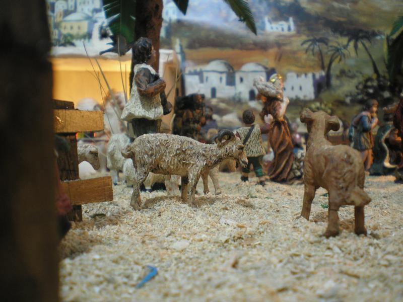 detalle de pastor y oveja. Belén de Pepe Ruiz